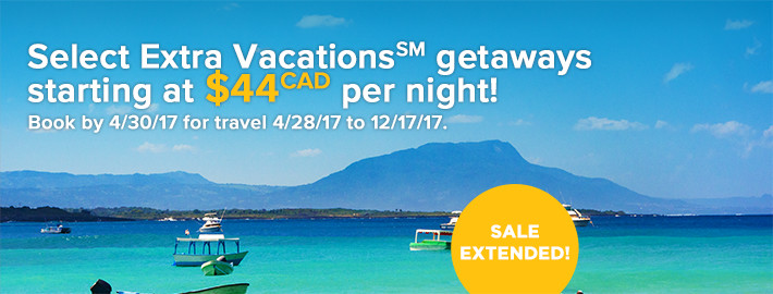 Select Extra Vacations(SM) getaways up to 40% off!